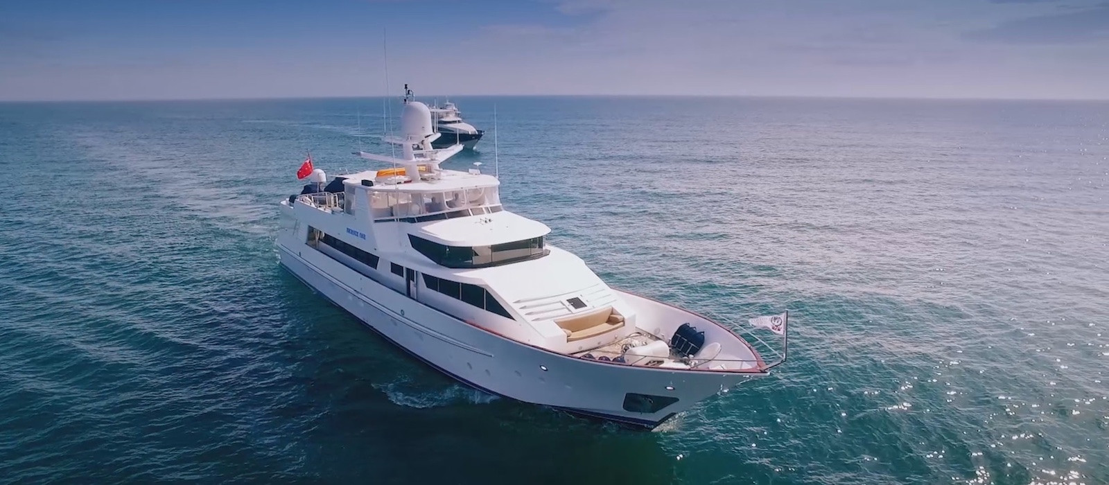 Aerial bow vie of Phoenix One super yacht hire