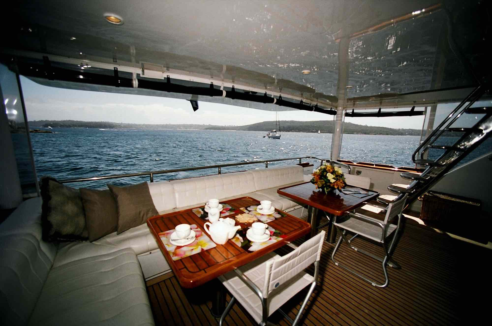 aft deck dining on luxury boat hire on Galaxy I