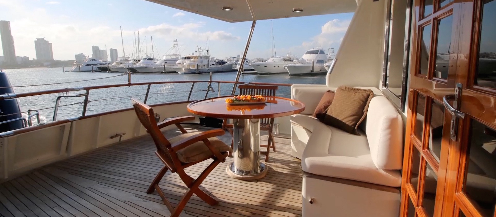 Aft deck seating on Luxury Boat Hire on Atlantic Princess