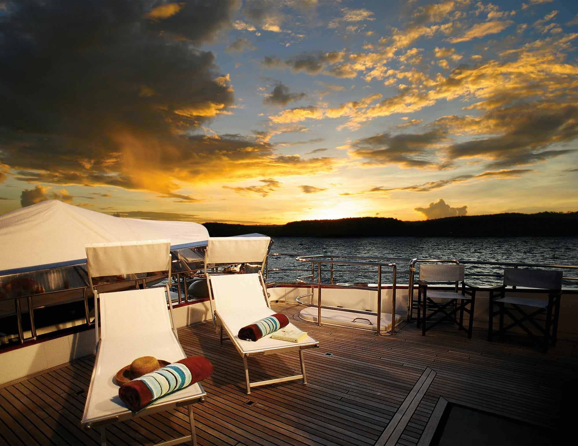 Beautiful sunset on Galaxy I luxury boat hire