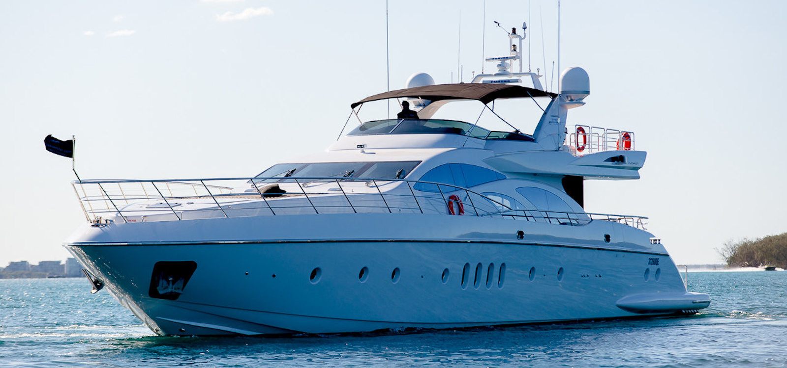 Bow view on superyacht hire on Seven Star