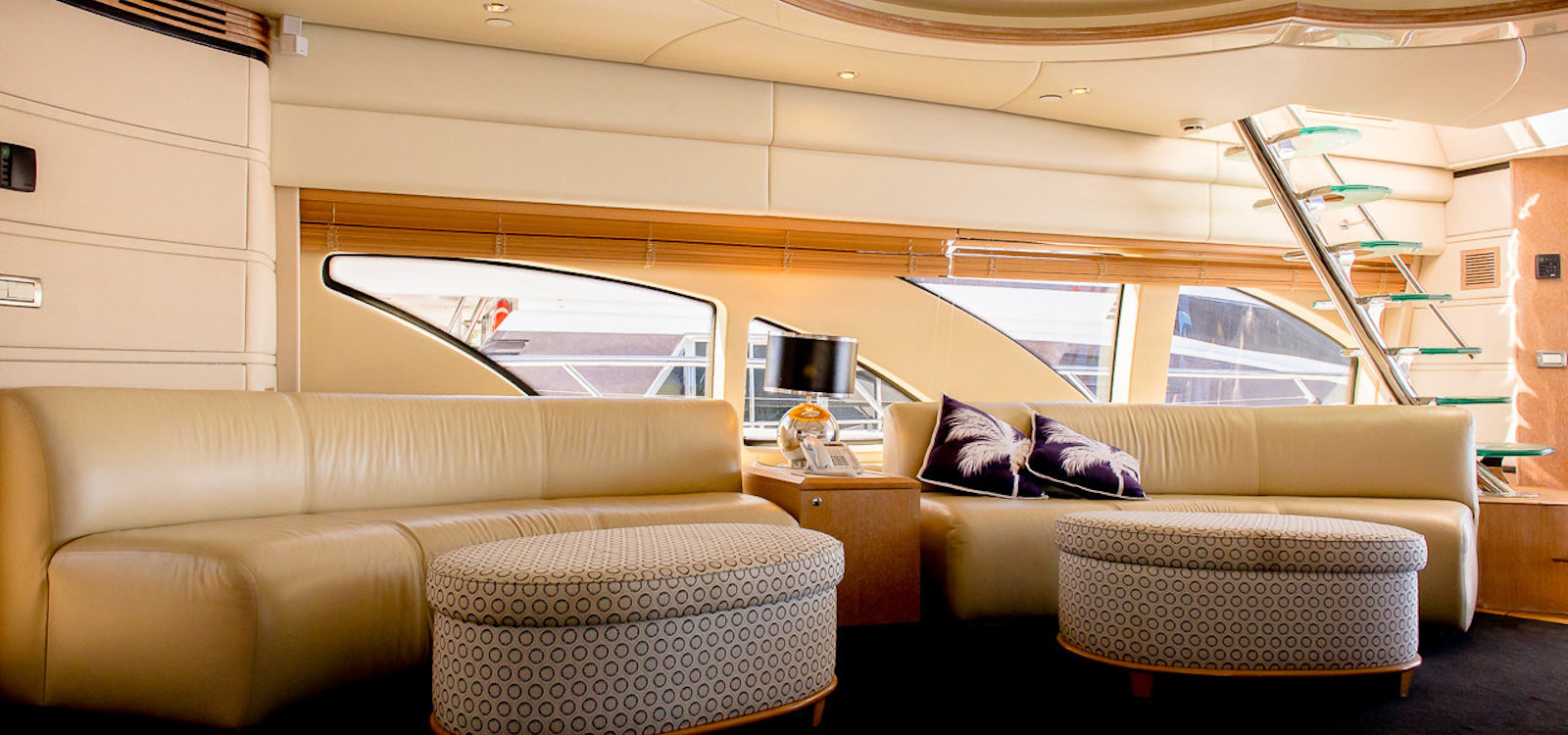 main lounge on luxury boat hire on Seven Star