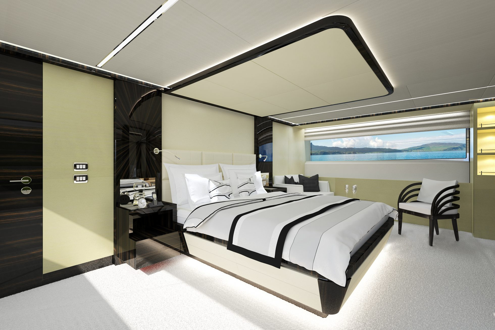 Master cabin on Ghost II superyacht hire