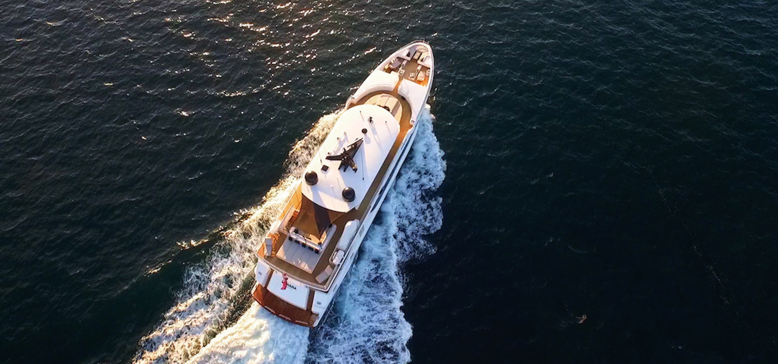 Aerial top view of Sahana superyacht hire